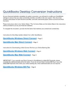 QuickBooks Desktop  Conversion Instructions