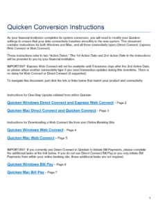 Quicken Conversion Instructions